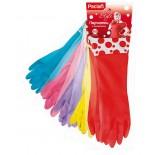 Разноцветные резиновые перчатки Paclan Style с удлиненной манжетой