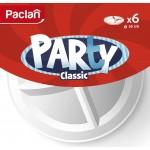 Тарелка пластиковая одноразовая трехсекционная Paclan Party